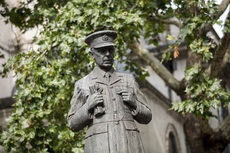 London, United Kingdom, 17th July 2019, Statue of Air Chief Marshall Lord Dowding outside Clement St Danes RAF Church on the Strand