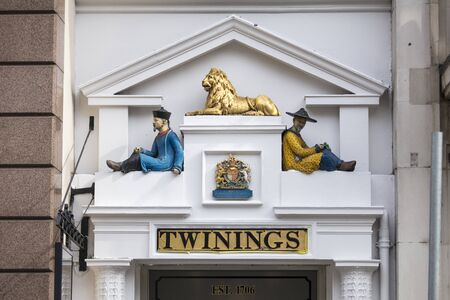 London, United Kingdom, 17th July 2019, Twinings Tea Shop entrance on the strand Editorial