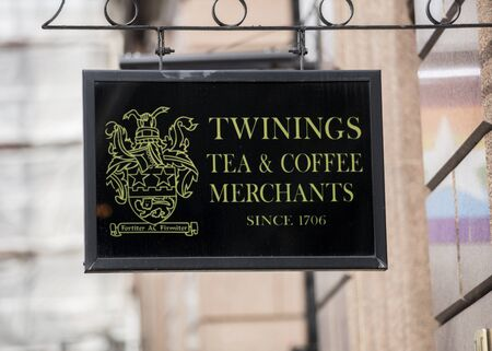 London, United Kingdom, 17th July 2019, Twinings Tea Shop Sign on the strand