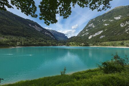 Tenno, Italy, Europe, August 2019, view of Lake Tenno Stok Fotoğraf