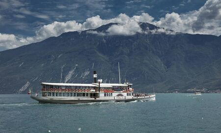 Lake Garda, Italy, Europe, August 2019, A view of the vintage paddle steamer ship Italia