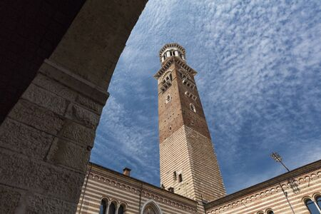 Verona, Italy, Europe, August 2019, The tower of the Palazzo della Ragione Editöryel