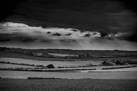 Lincolnshire Wolds, East Midlands, UK, May 2019, View of the lincolnshire countryside in black and white