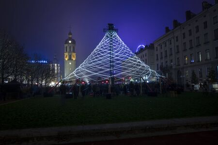 Lyon, France, Europe, 6th December 2019, view of the Fetes des Lumiers aka festival of light  and the Pavillon in the Place Antonin Poncet
