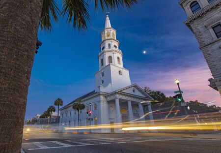 Charleston, South Carolina, United States, November 2019, a view  of the St Michaels Church in historic Charleston Stock Photo - 137450255