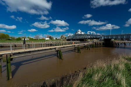 Sutton Bridge, Lincolnshire, UK, April 2014, Sutton Bridge Historic Crosskeys Swing Bridge over the River Nene