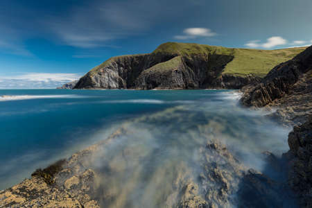 Ceibwr Bar, Pembrokeshire, Wales, UK, 3rd August 2020, A view of the cliffs and sea