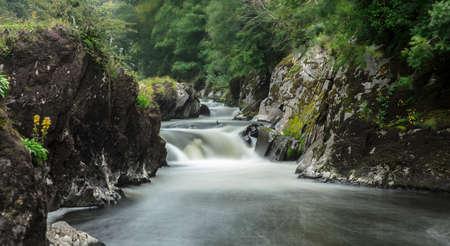 Cenarth, Carmarthenshire, Wales, 4th August 2020, View of Cenarth Falls Waterfall Stok Fotoğraf