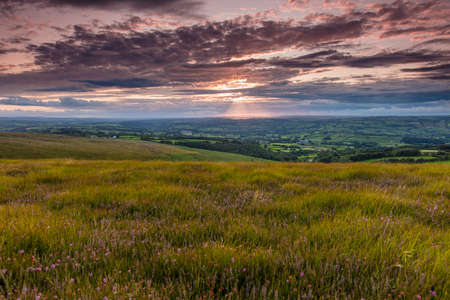Llanllwni, Carmarthenshire, Wales, View from Llanllwni Mountain of sunset