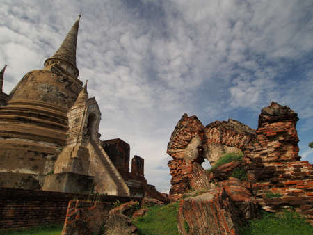 remains: Pagoda and the remains in Pra Sri Sanphet Temple, Ayutthaya Stock Photo