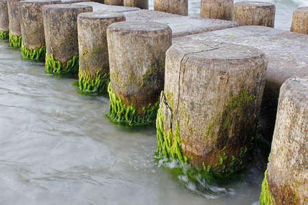 seaway: wavebreaker in baltic sea Stock Photo
