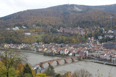 philosophers: Heidelberg old bridge and castle Editorial