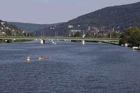 rowing boat: rowing boat on the river Neckar in Heidelberg Stock Photo