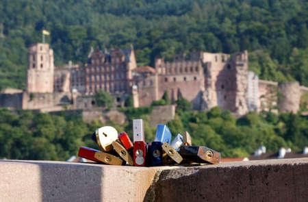 pledge: Lovers lock before Heidelberg Castle