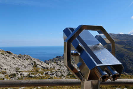 lofty: Telescope in the mountains by the ocean Stock Photo