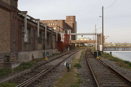 industrialization: Industrial building with railway Stock Photo