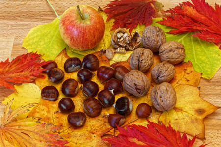 momentariness: chestnuts, apple and walnuts on autumn leaves Stock Photo