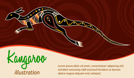 Kangaroo. Aboriginal style. Illustration