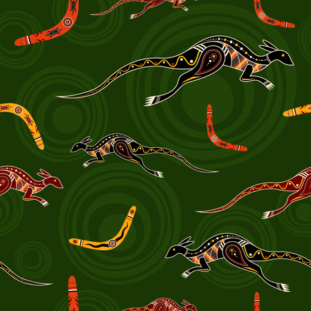 boomerangs: Seamless pattern of kangaroos and boomerangs with abstract circles on background. Australian aboriginal ornament. Aboriginal painting style. Vector background.