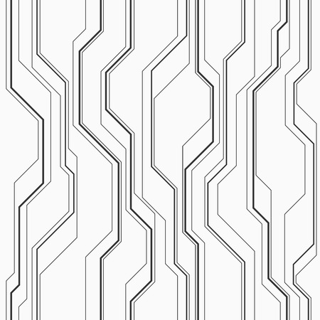 Abstract vector seamless pattern with lines. Background in high tech style. Monochrome colors.