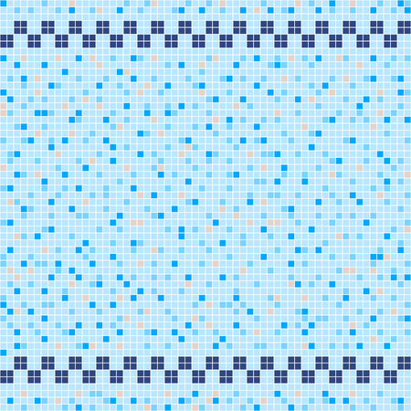Blue and beige ceramic tile mosaic in swimming pool with symmetric border. Vector seamless pattern.