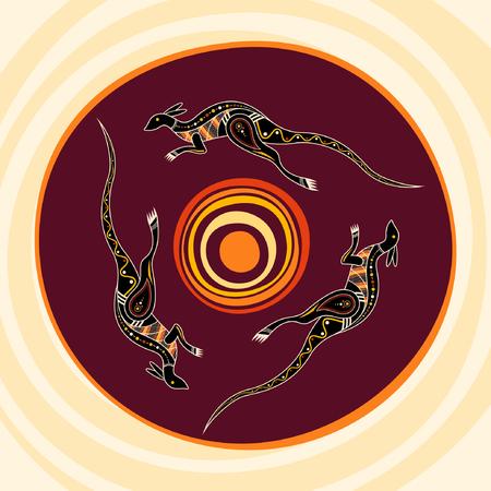 Three kangaroos jumping around the sun. Aboriginal style. Vector abstract illustration. 向量圖像