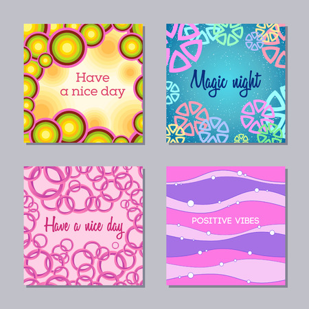 Set of 4 creative card templates. Abstract backgrounds. Applicable for posters, covers, flyers and banner designs, birthday cards, invitations. Vector illustration.