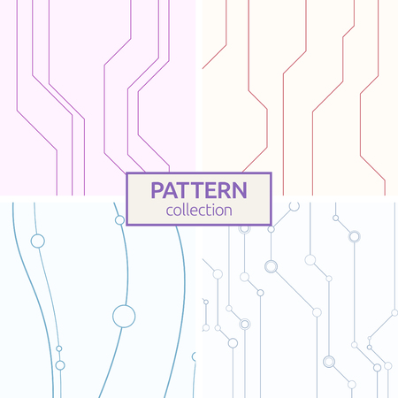 Set of four abstract vector seamless patterns with lines and circles. Stylish textures. Color pattern in high tech style.