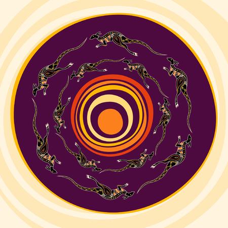 Kangaroos jumping around the sun. Aboriginal style. Vector abstract illustration.