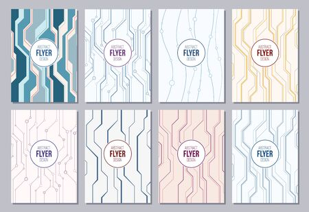 Set of flyers, posters, banners, placards, brochure or magazine covers template A6 size. Abstract geometric backgrounds with lines and circles. Vector color background in high tech style.