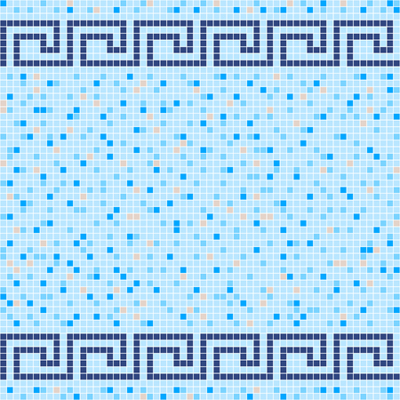 Blue and beige ceramic tile mosaic in swimming pool. Antique Greek border. Vector seamless pattern. Design for pool, kitchen, bathroom.