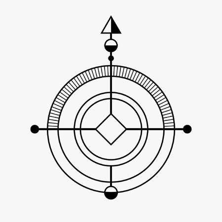 occultism: Abstract geometric symbol. Sacred geometry sign. Concept of imagination, magic, alchemy, religion, philosophy, spirituality, occultism, creativity. Linear logo and spiritual design. Vector elements. Illustration