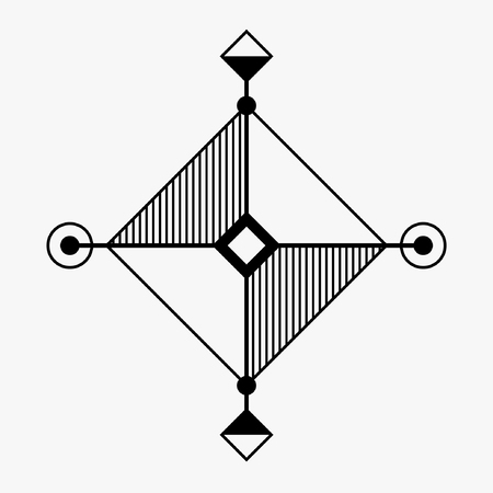 occultism: Abstract geometric symbol. Concept of imagination, magic, alchemy, religion, philosophy, spirituality, occultism, creativity. Linear logo and spiritual design. Vector elements.