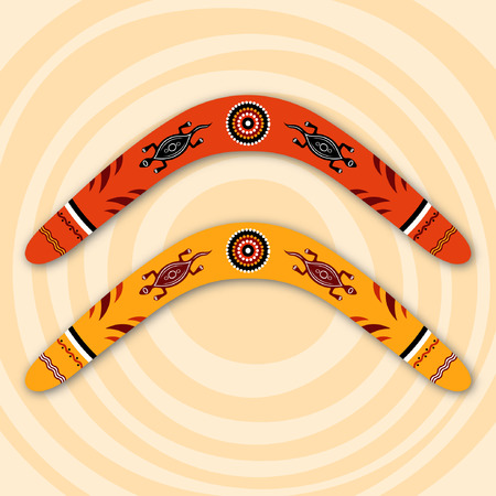 boomerangs: Boomerangs isolated on beige background with circles. Tribal style. Australian style. Vector illustration. Illustration