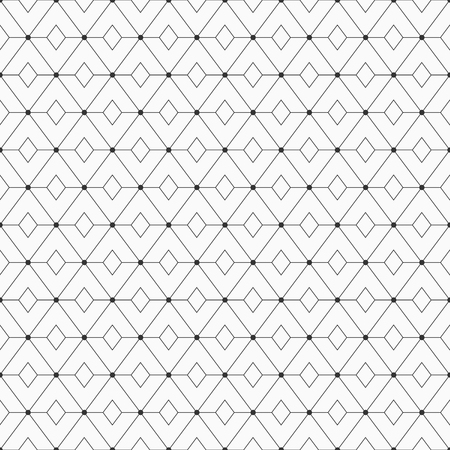 Vector monochrome seamless pattern. Geometric background with repeating rhombuses. Dots connected with lines. Dots on the corners of rhombuses. Modern stylish texture. Repeating geometric tiles. Illustration