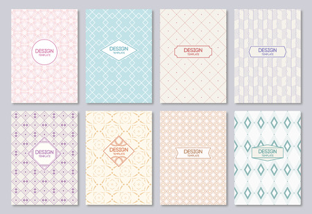 Set of poster, flyer, posters, banners, placards, brochure design templates A6 size. Graphic design templates for Logo, labels and badges. Abstract geometric backgrounds. Retro Backgrounds.