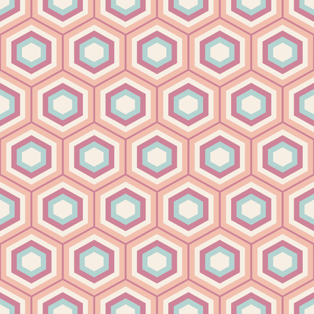 tillable: A Seamless geometric abstract pattern of colorful hexagons. Retro colors. Fashion geometrical pattern. For fashion textile, cloth, backgrounds. Vector background.
