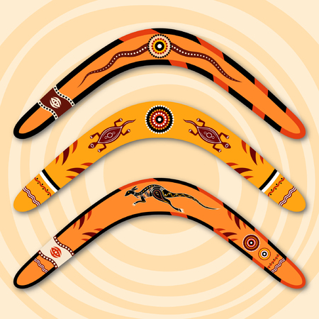 Boomerangs isolated on beige background with circles. Tribal style. Australian style. Vector illustration. Illustration