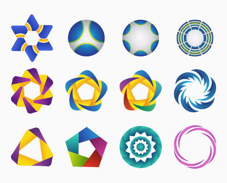 Set of templates gradient logos. Vector Illustration. Symbols for your design. Three-dimensional quality vector icons. Eps 10 file.