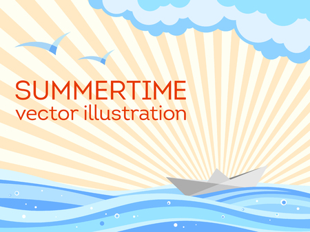 Summer background. Summertime theme. Paper ship origami sailing on the waves, seagulls, sun rays and clouds. Vector illustration.