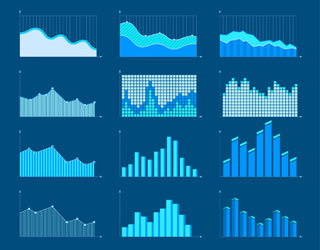 Set of different graphs and charts, information on charts, statistical data. Business charts and graphs infographic elements. Vector illustration. Illustration