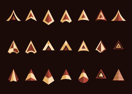 Conjunto de iconos de vector de puntas de flecha. Colores beige y marrón Símbolos planos decorativos sobre un fondo marrón oscuro. Fácil de volver a colorear Ilustración vectorial