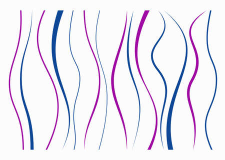 Set of different curved lines. Abstract vector elements. Blue and purple colors. Illustration