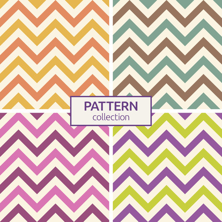 Set of four seamless fashion zigzag patterns. Zigzag color lines. Colorful chevron pattern. Herringbone pattern. Vintage colors. Vector background. Illustration