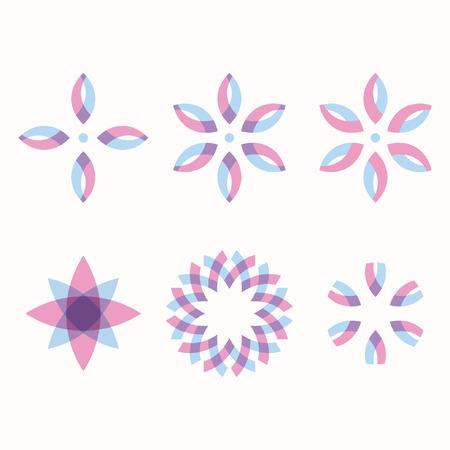 Set of 6 symmetric geometric shapes abstract symbols eps 10