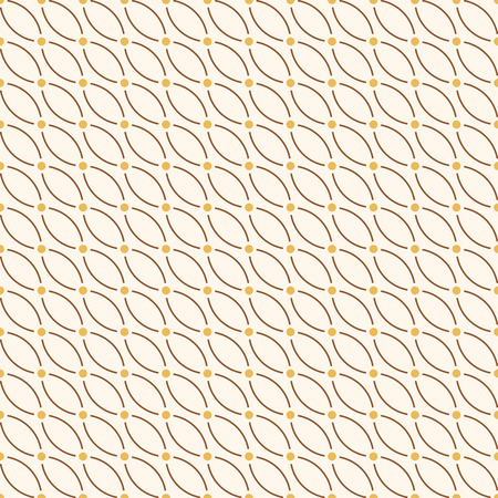 Vector seamless minimalistic pattern of curved lines with dots in nodes. Modern stylish texture. Contemporary graphic design. Yellow and brown colors. Geometric abstract color background.