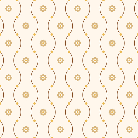 Vector seamless minimalistic pattern of curved lines with dots in nodes and flowers. Modern stylish texture. Yellow and brown colors. Geometric abstract color wallpaper.