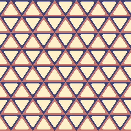 pinnacle: Seamless abstract geometric pattern with triangles. Symmetry arranged triangles with rounded corners. Retro colors. Vector background. Illustration
