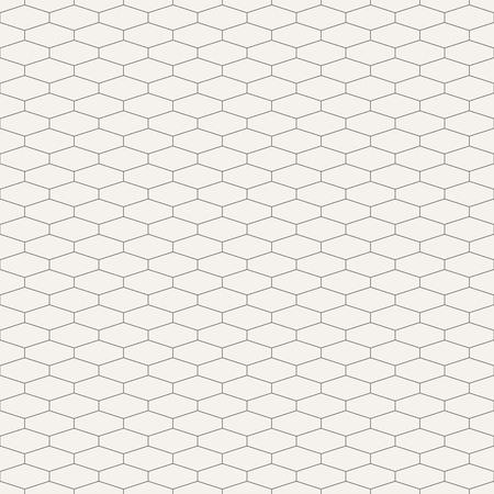 Abstract seamless pattern. Hexagonal grid design. Geometric wallpaper. Tiles motif. Linear style. Oblong hexagonal net. Vector background. Illustration