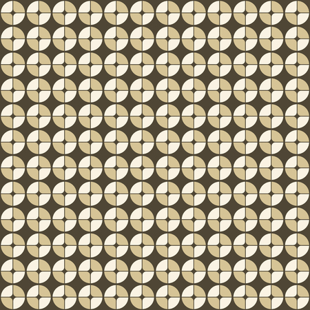 interior decoration: Abstract geometric pattern in retro style. Modern stylish circle texture. Circles, divided into four parts. Fashion style, trendy fabric, template, layout for design. Illustration